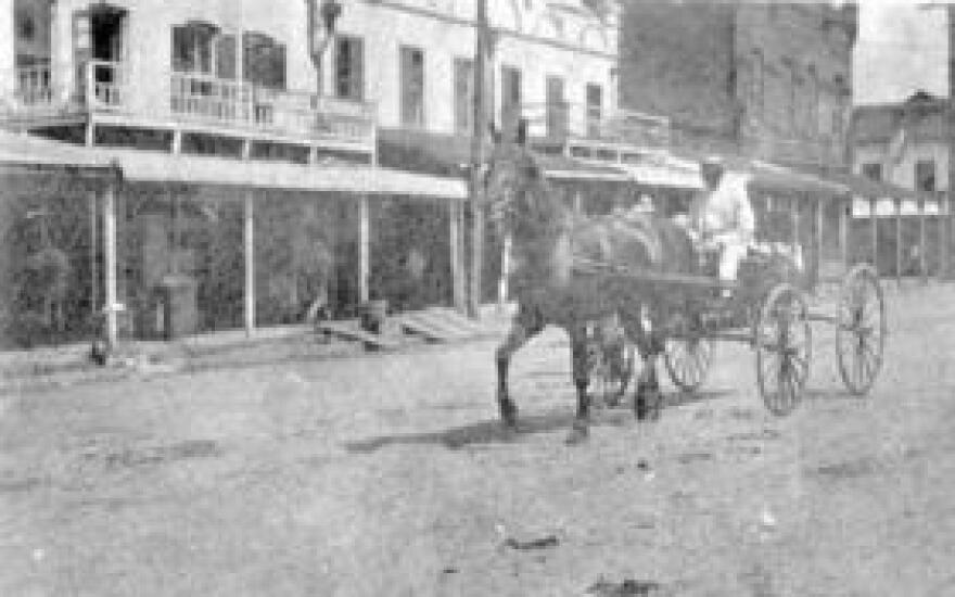 A man drives a horse-drawn carriage down Monroe Street, between Pensacola and Jefferson Streets, circa 1910.