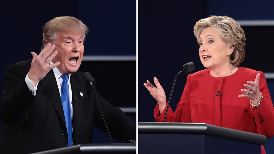Left: Republican nominee Donald Trump speaks during the presidential debate at Hofstra University on Monday in Hempstead, N.Y. Right: Democratic nominee Hillary Clinton speaks during the debate.