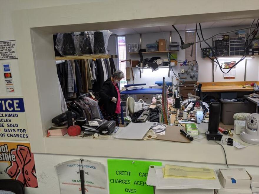 A tailor at Chicago Custom Tailor Shop on San Antonio's North Side.