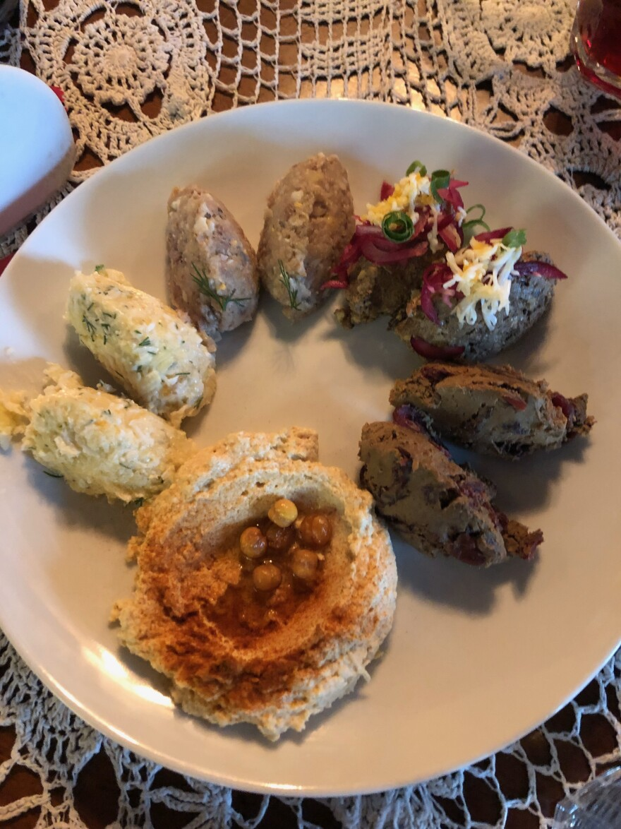 The menu at the Golden Rose is a mix of Israeli and traditionally Jewish foods, including a platter of delicious, although not all kosher, dips.