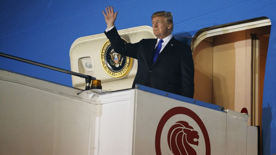 President Donald Trump arrives in Singapore Sunday for a highly touted summit with North Korean leader Kim Jong Un.