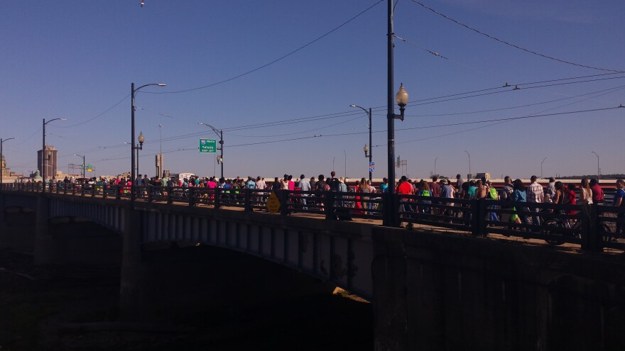 Dayton's second Longest Table meal took place on the Third Street bridge