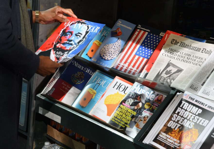 A misinformation newsstand is seen in midtown Manhattan on October 30, 2018, aiming to educate news consumers about the dangers of disinformation, or fake news, in the lead-up to the U.S. midterm elections. The first-of-its-kind newsstand was set up by the Columbia Journalism Review. (ANGELA WEISS/AFP via Getty Images)