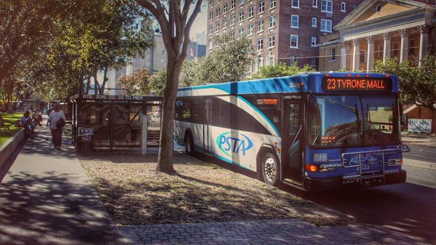 A PSTA bus at a stop in Williams Park in downtown St. Petesrburg