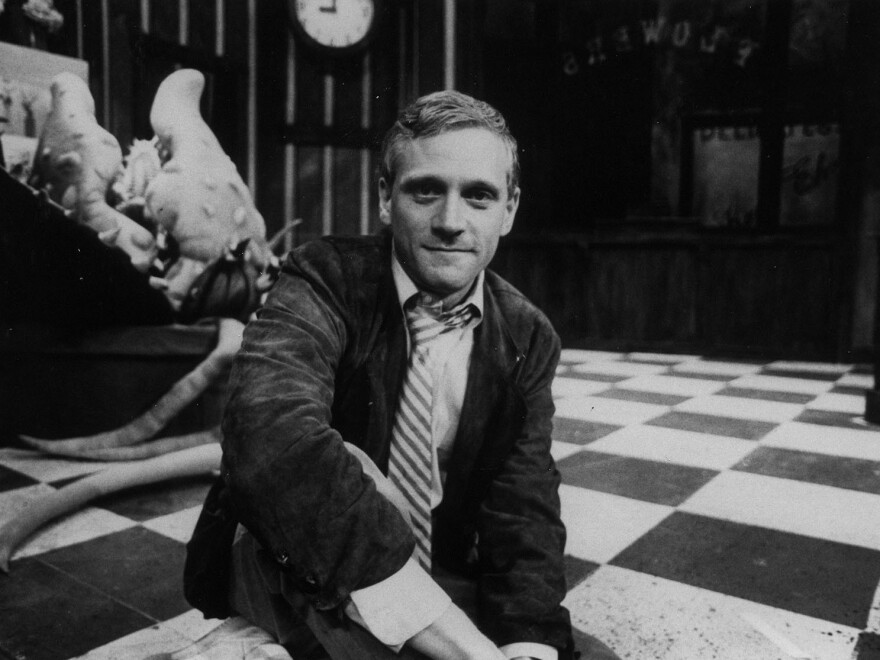 A young Howard Ashman, photographed on the set of his musical <em>Little Shop of Horrors</em>.