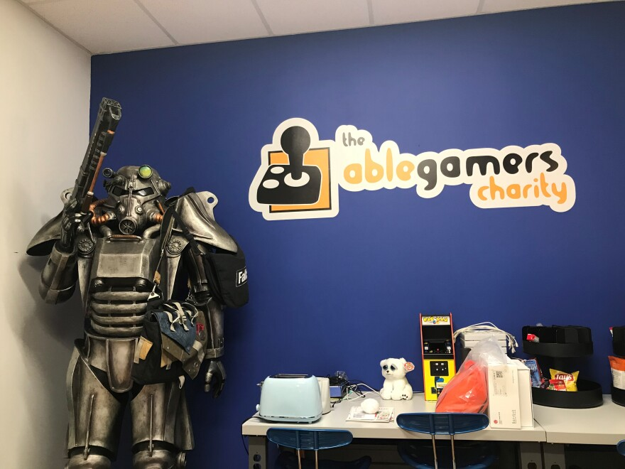 This life size power armor from the Fallout video games hangs out here in one of the hallways at the AbleGamers headquarters in Kearneysville, W.Va.