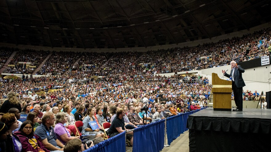 U.S. Sen. Bernie Sanders, an independent from Vermont and 2016 U.S. presidential candidate, speaks during a campaign rally in Madison, Wis., on Wednesday.