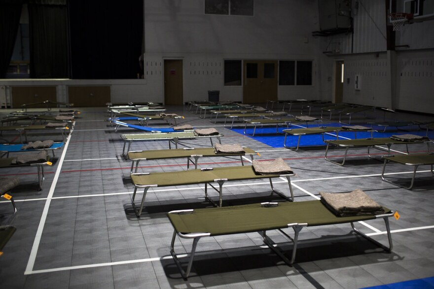 Cots in the Smithville Recreational Center during Hurricane Harvey in 2017.
