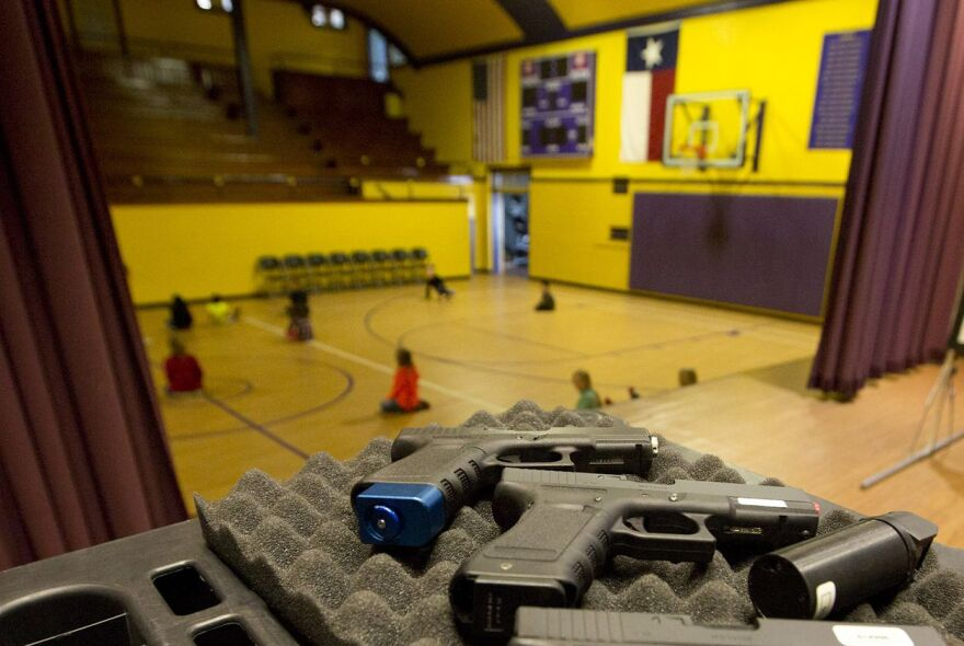 Mock weapons are used to train educators in Harrold. The North Texas school district was the first to allow educators to carry guns on school grounds, starting in 2007.