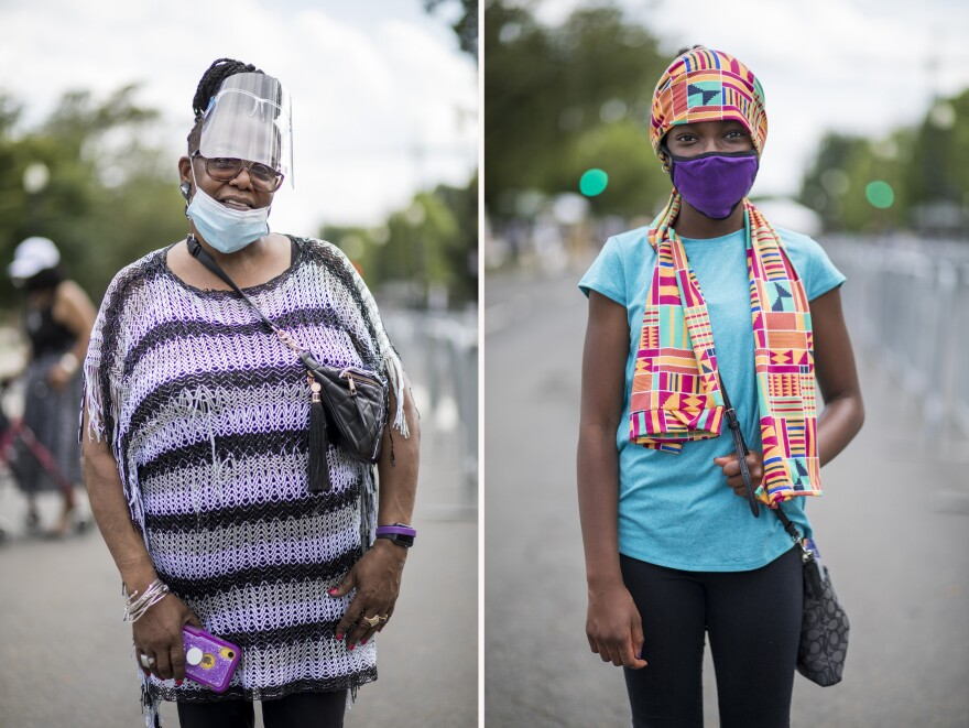 Left, Telsa Jones Linton, of Rochester, N.Y. Right, Mary Kabore, of Honeytown, Md.