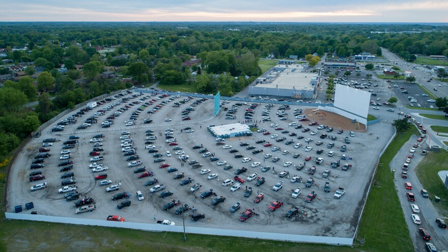 The last few cars find spots before the evening's first movie begins at the Skyview Drive-In in Belleville on May 9, 2020. Cars were spaced out farther than normal because of Illinois' social distancing guidelines in response to COVID-19.