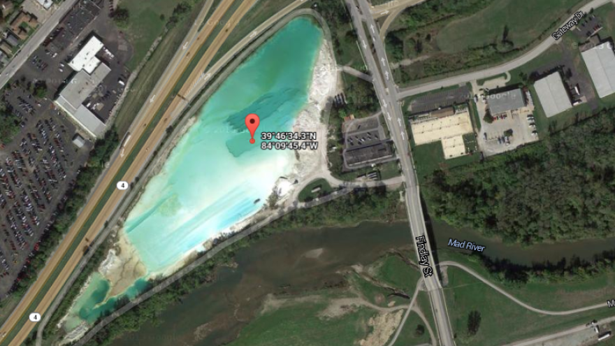 A Google satellite image of the blue lagoon, which sometimes looks very green.