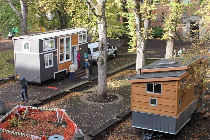 Tiny houses on display during Build Small Live Large 2017 in Portland, Oregon.