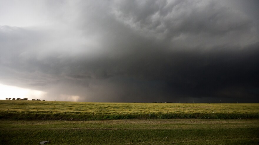 Friday's storm, which produced a mile-wide tornado, as it neared El Reno, Okla.