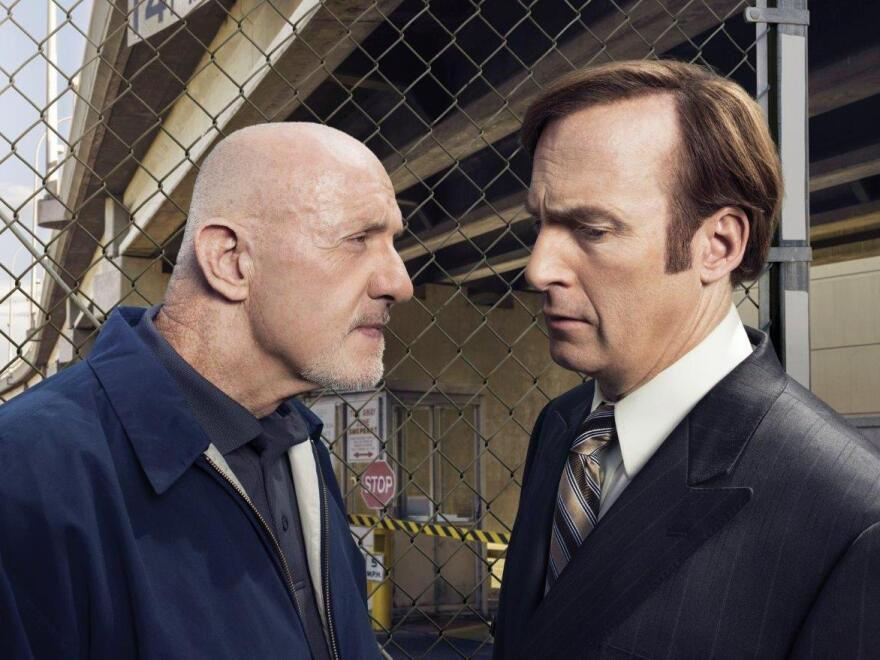 Jonathan Banks (left) plays Mike Ehrmantraut, a former cop and a hit man, on the new AMC series <em>Better Call Saul</em>. He often carries out illegal instructions from Saul Goodman (right, played by Bob Odenkirk).