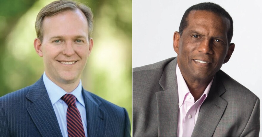 A side-by-side photo collage of Ben McAdams and Burgess Owens.