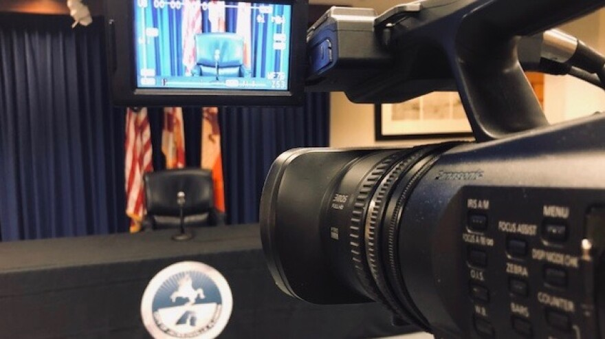 The city of Jacksonville prepares for Mayor Lenny Curry's live Zoom press conference on Thursday.