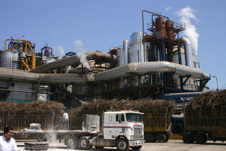 Sugar cane is processed at a refinery in Chichigalpa, Nicaragua.