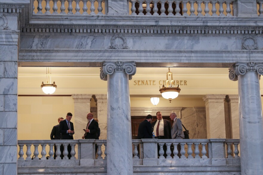 Photo of outside the Senate chambers at the Utah Capitol.