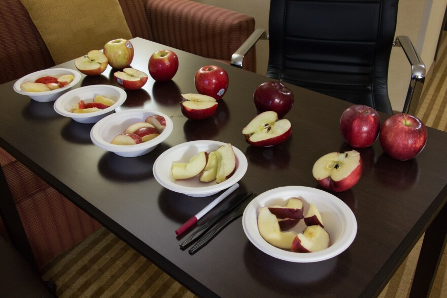 These apples put out for a taste test are Honeycrisp (from left), Jazz, Gala, Red Delicious and Cosmic Crisp.