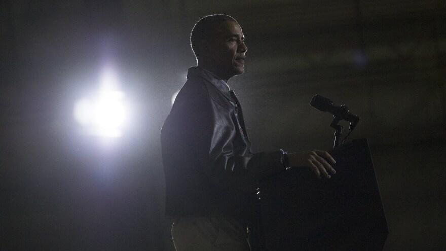 President Obama addresses U.S. troops during a surprise visit to Bagram Air Field in Afghanistan in 2014.
