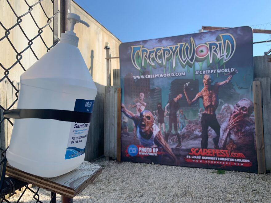Creepyworld, an outdoor haunted park in Fenton, has not reduced capacity this season, but has added hand sanitizer stations and extra line cues to encourage social distancing. Oct. 7, 2020
