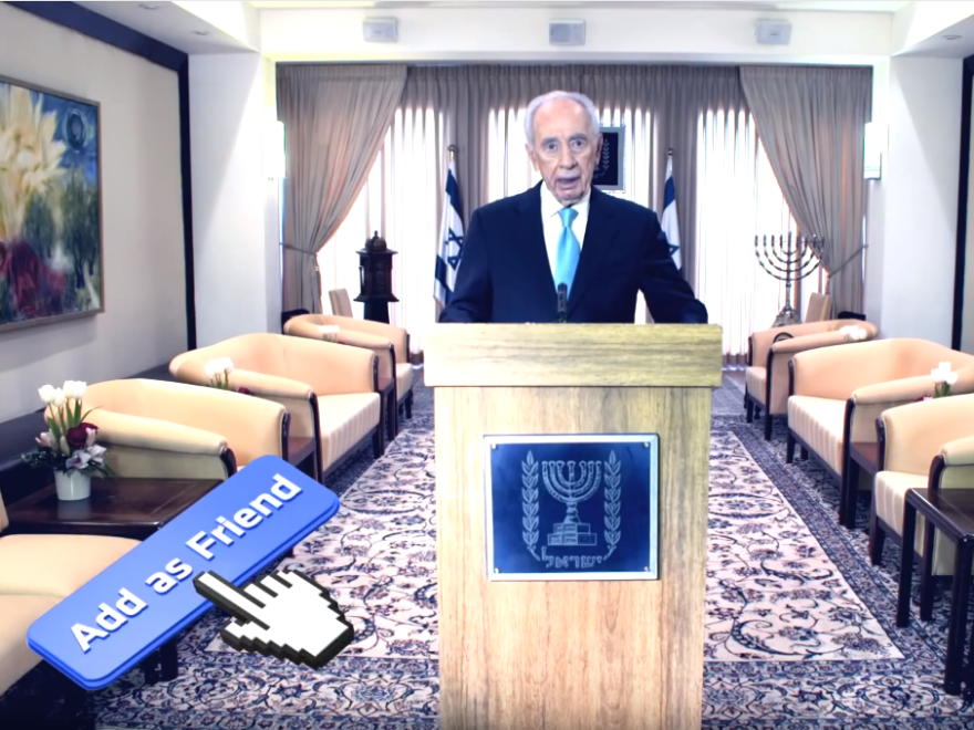 Shimon Peres, former president of Israel, appears in a 2012 music video promoting his Facebook page.