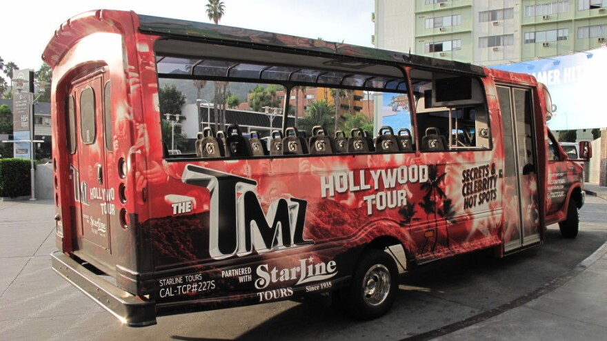 """The TMZ Tour promises """"Secrets and  Celebrity Hot Spots,"""" all seen from the comfort of a bus that seats 24."""