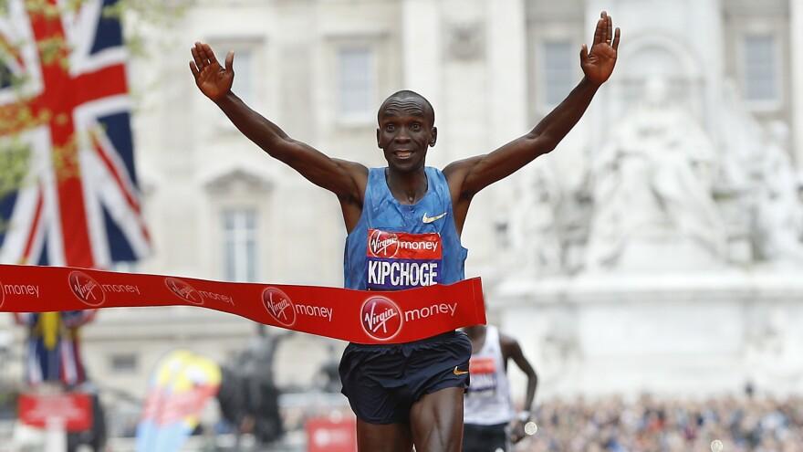 Eliud Kipchoge of Kenya wins the London Marathon last year. He's the favorite in the men's marathon in Rio.