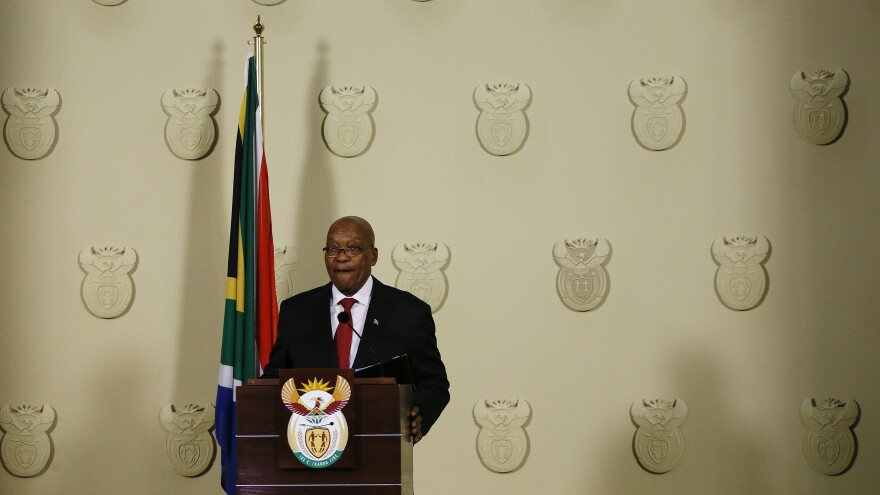 Former South African President Jacob Zuma resigns his post in a televised address to the country last month. Now, just one month later, the embattled erstwhile leader faces 16 counts of corruption, money laundering and racketeering.