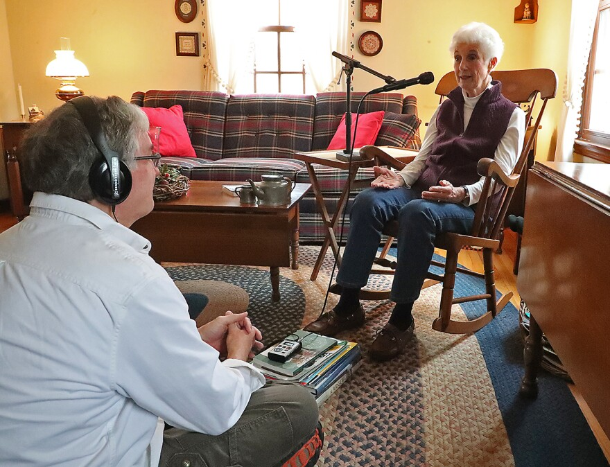 WYSO reporter Tom Stafford interviewing Lois Christel in her home, before expanded social distancing guidelines were issued.