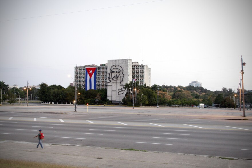 "A image of Ernesto ""Che"" Guevara overlooks the plaza. The building houses Cuba's Ministry of the Interior."