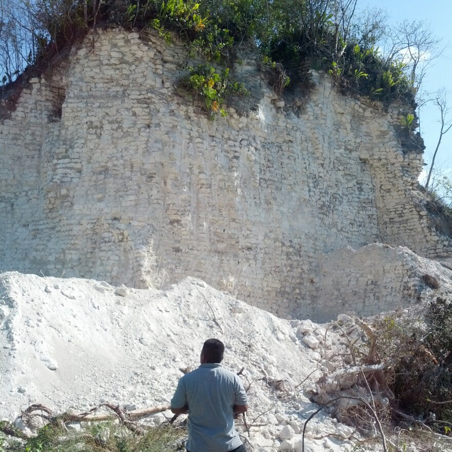What's left of the Nohmul pyramid after a construction crew virtually destroyed the 2,300-year-old Mayan structure.