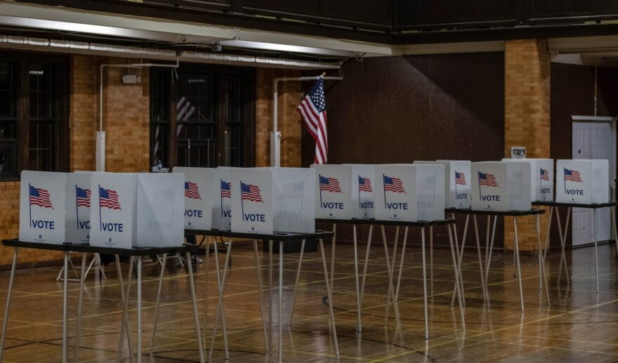 Empty voting booths are seen in Flint, Michigan at the Berston Fieldhouse polling place.