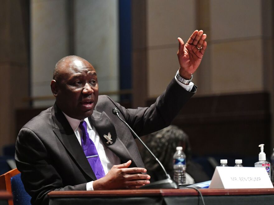 "Civil rights attorney Benjamin Crump, shown testifying at a June 10 House Judiciary Committee hearing prompted by the death of George Floyd, announced he has filed a civil lawsuit against ""the City of Minneapolis and police officers"" on behalf of Floyd's family."