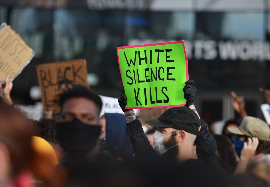 <em>White Fragility </em>author Robin DiAngelo says the question white people should be asking themselves is not <em>have</em> I been shaped by race, but <em>how</em> have I been shaped by race? Above, protesters demonstrate in New York on June 1.