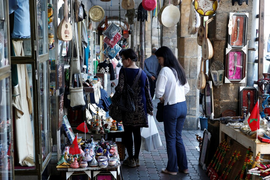 Chinese tourists browse at a shopping area in Casablanca in 2016. Chinese tourism to Morocco has skyrocketed in recent years, following a loosening of visa restrictions.