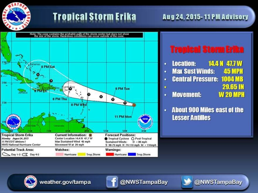 Tropical Storm Erika is being watched by weather forecasters and hurricane trackers.