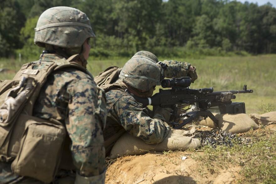 Marines training outside