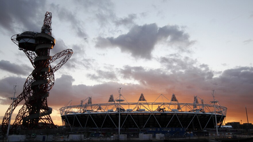 The London 2012 Olympic Stadium at sunset at the Olympic Park in London. The Smithsonian Institution is working to establish its first international museum outpost in London as that city redevelops its Olympic park.