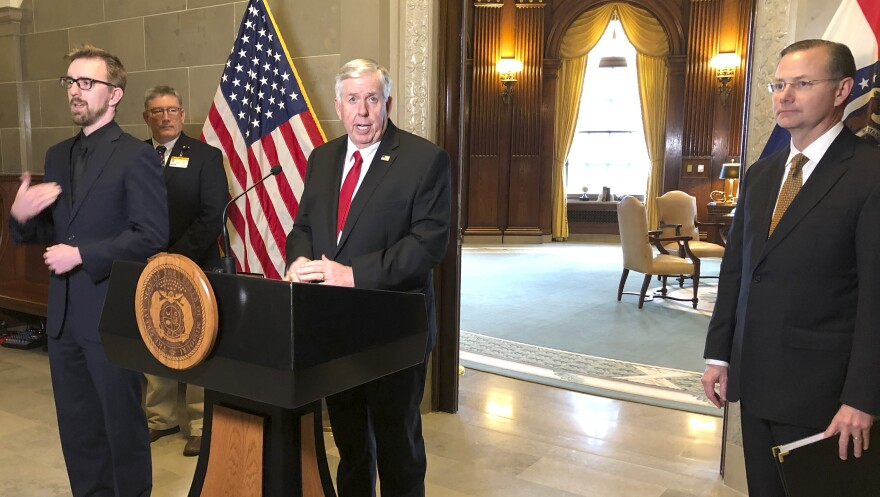 Missouri Gov. Mike Parson announces the state's first death from the coronavirus during a news conference in Jefferson City, Mo., last month.