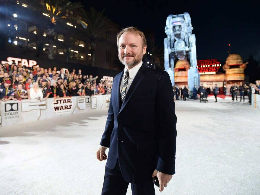 Rian Johnson appears at the world premiere of Star Wars: The Last Jedi in late 2017.