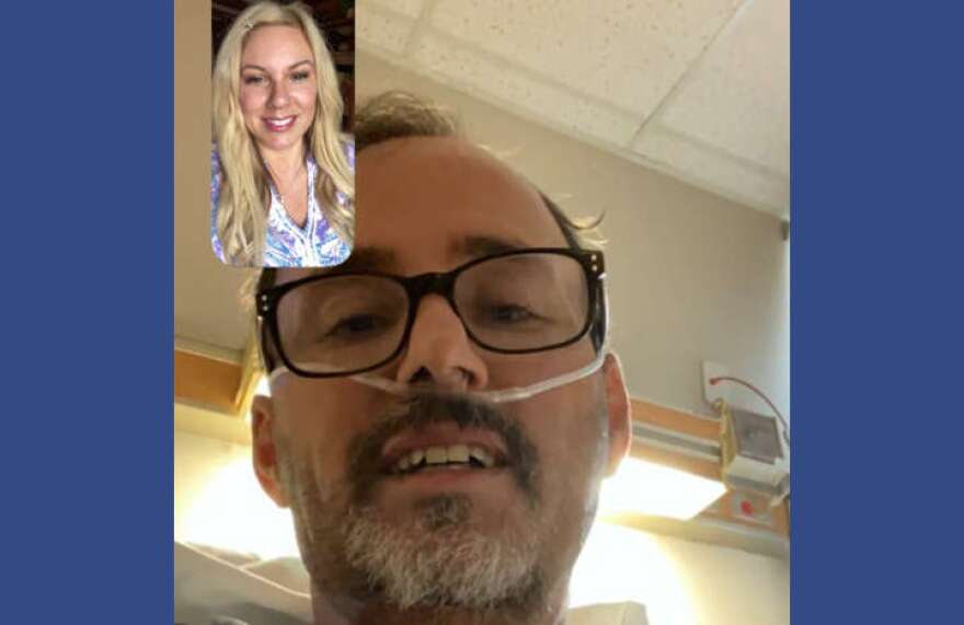 Stacie Rathel chats with her husband, Michael Kevin Rathel, who got an experimental treatment for COVID-19 plasma, and antibodies, of someone who had recovered from the virus.