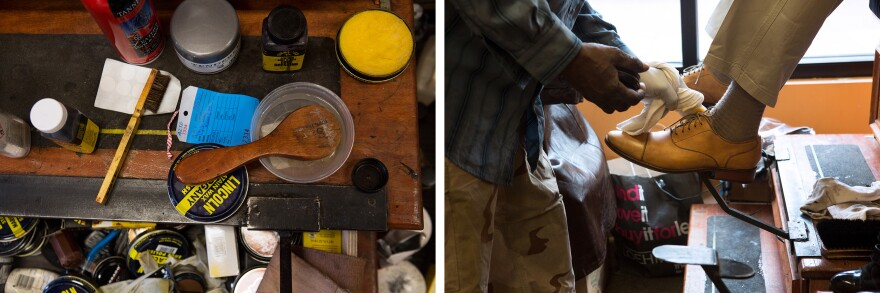 Ernest Peterson gets his shoes shined at A Divine Shine shoe repair shop in Shaw.