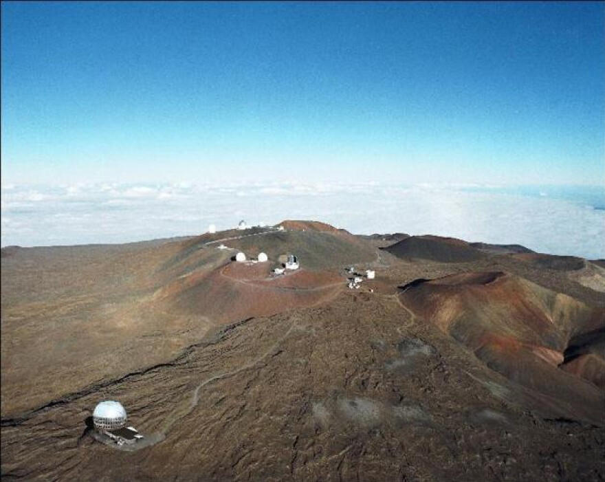 An artist's rendering of the Thirty Meter Telescope atop Mauna Kea.