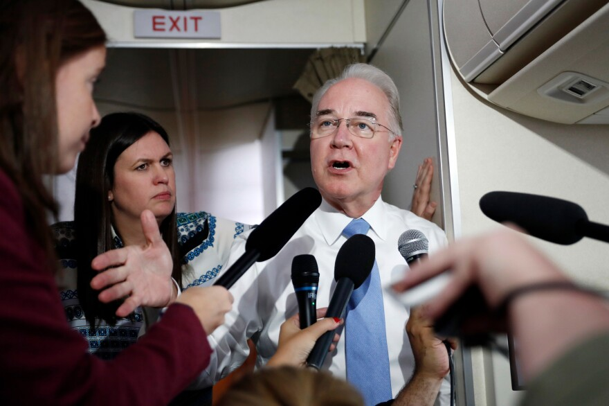 "Secretary of Health and Human Services Tom Price, joined by White House press secretary Sarah Huckabee Sanders, speaks to media aboard Air Force One. Price <a href=""http://www.politico.com/story/2017/09/27/tom-price-travel-house-oversight-243201"">has reportedly spent more than $400,000</a> of public money on trips using private aircraft."