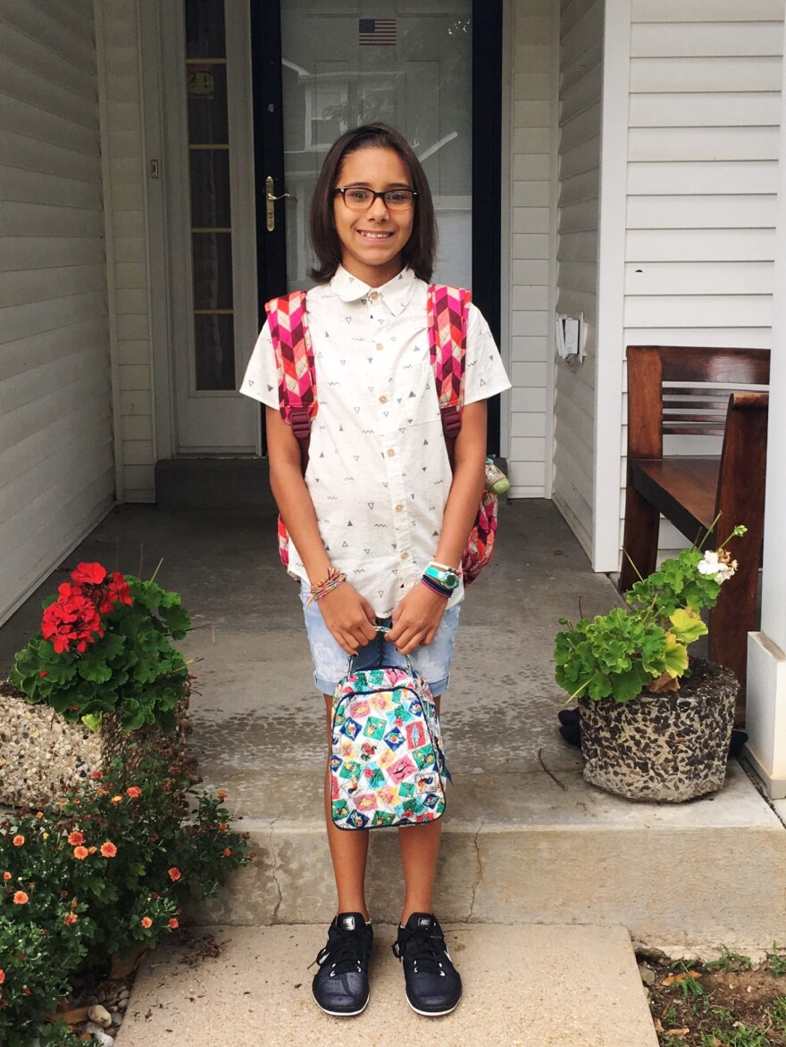 Lili Cooley poses for a picture on her first day of school this year.