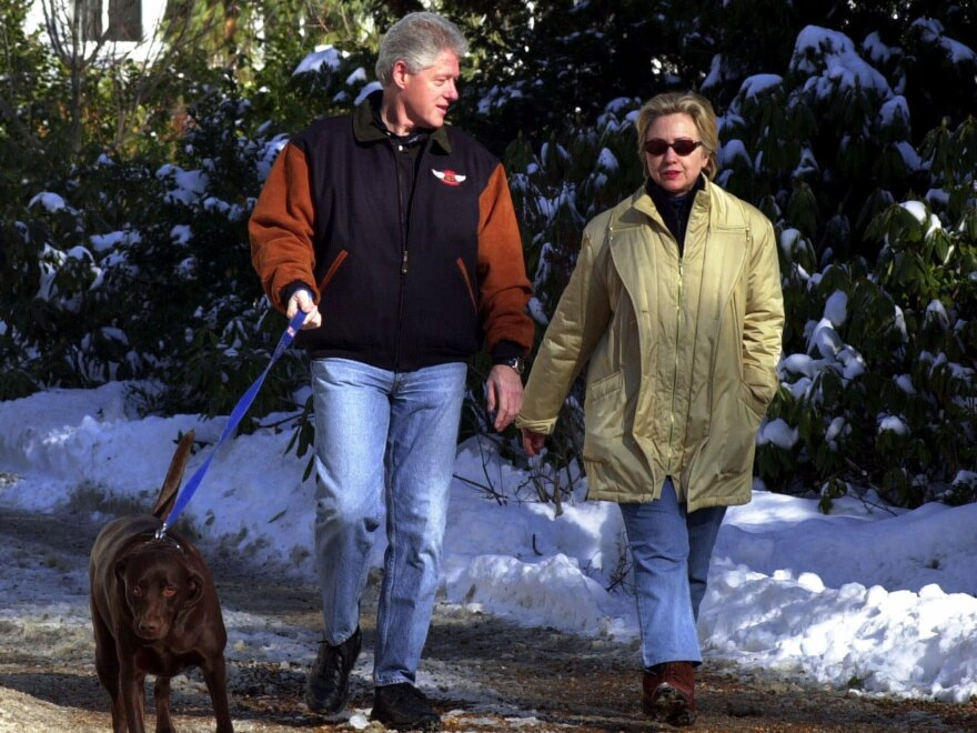 """The Clintons leaving their home in Chappaqua, N.Y., in 2001. """"Secrecy and transparency are always an issue for the Clintons, will always be an issue for her, and probably are her main vulnerability,"""" says political columnist Matt Bai."""