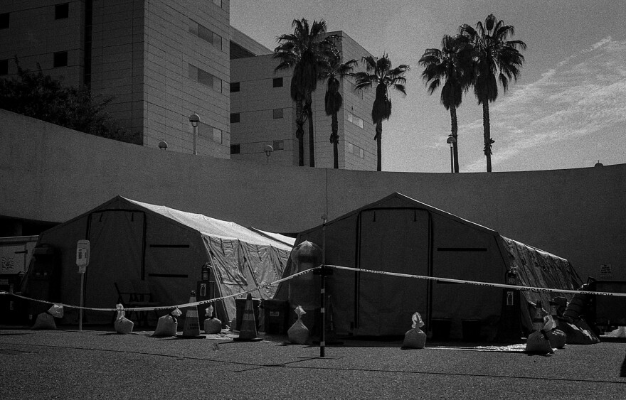 As cases in New York City surge, disaster tents are erected and await use outside of the Los Angeles County-USC Medical Center emergency department in preparation for the worst.