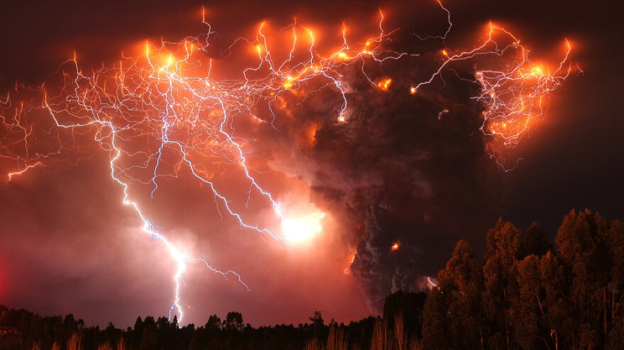 Lightning over the Puyehue volcano, 500 miles south of Santiago, Chile, on Monday.